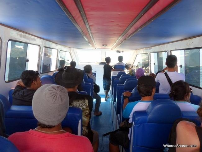 Inside Gili Islands fast boat