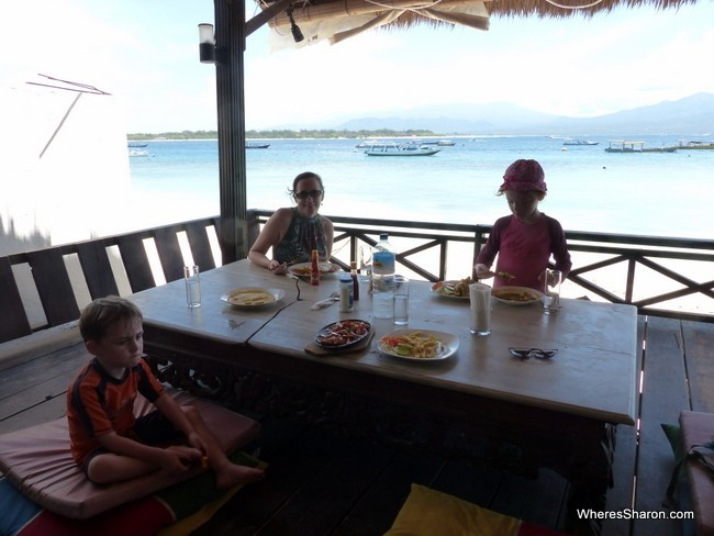eating in the Gili Islands