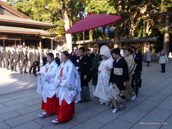 A shinto wedding in process at the Meiji Shrine duri