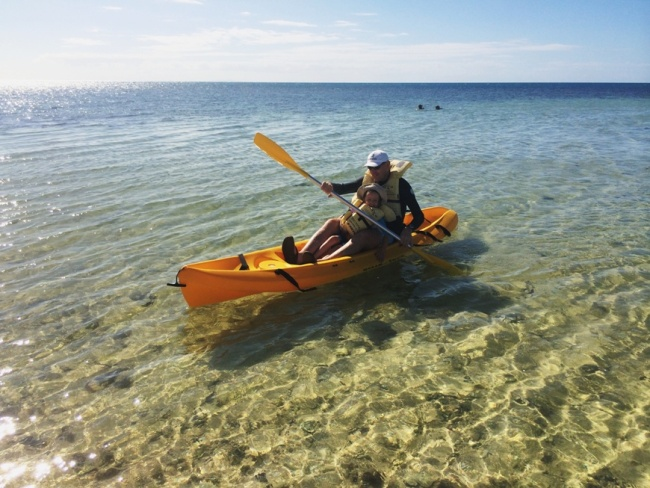 Kayaking at Savala Island best family island fiji