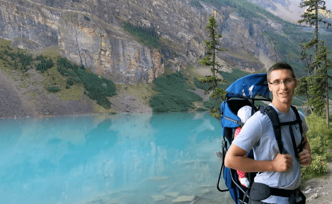 Lake Louise, Canada with baby