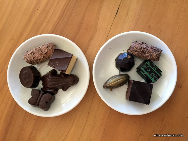 Chocolate tasting plates at House of Anvers