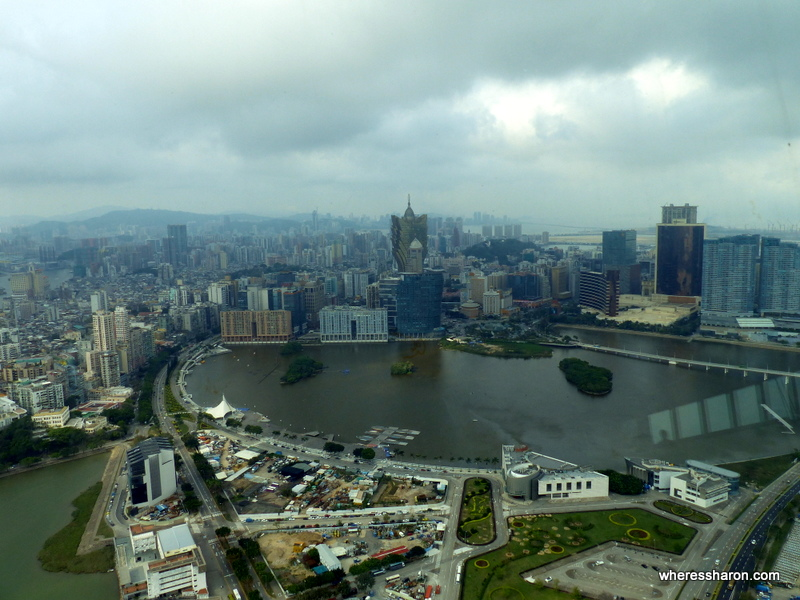 The view from the revolving restaurant in the Macau Tower. Even on a muggy and poor visibility day the views are still great.